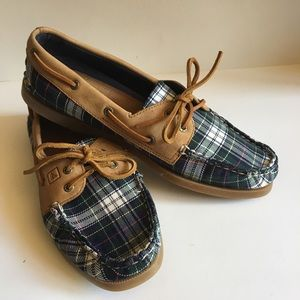Sperry Top Siders  canvas plaid with suede Sz 9